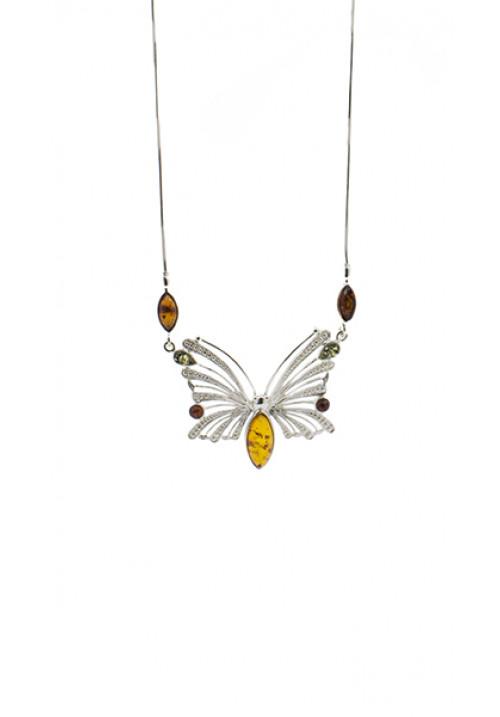 Collana Ambra baltica e argento - Forma di Farfalla