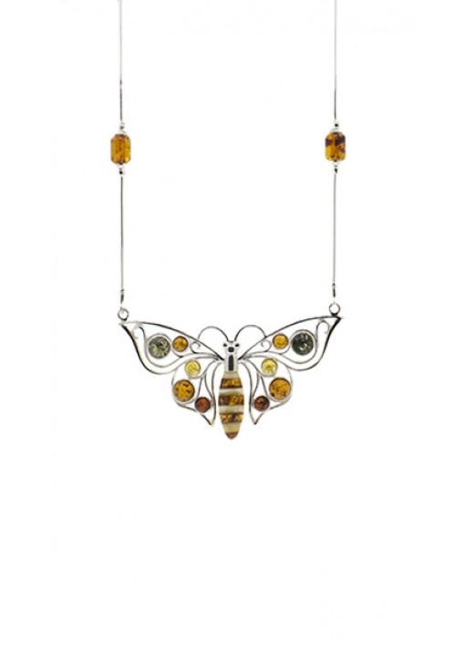 Collana Ambra baltica e argento - Farfalla