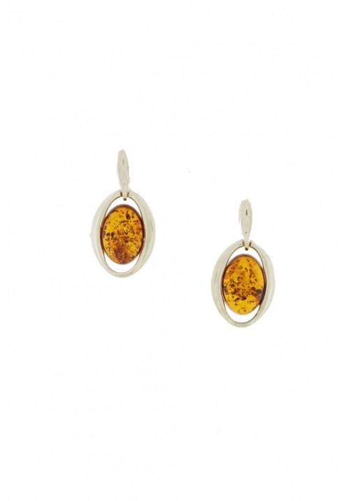 Orecchini pendenti in ambra baltica naturale color miele - Argento 925 - AMOR03
