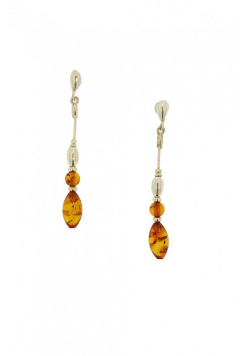 Orecchini pendenti in Argento 925 con ambra baltica naturale - AMOR04