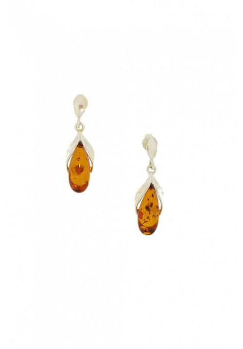 Orecchini pendenti in ambra baltica naturale color miele - Argento 925 - AMOR05