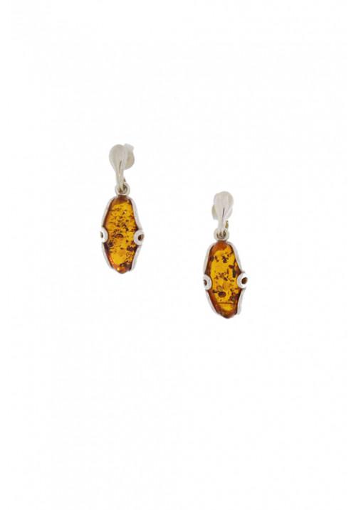 Orecchini pendenti in ambra baltica naturale color miele - Argento 925 - AMOR06