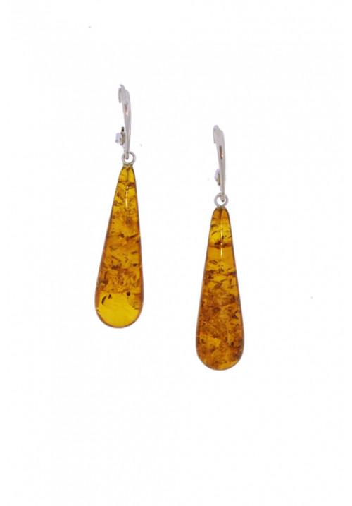Orecchini pendenti in ambra baltica naturale - Argento 925 - AMOR10