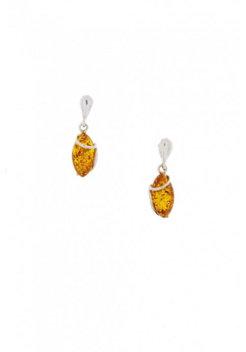 Orecchini pendenti in ambra baltica naturale color miele - Argento 925 - AMOR11