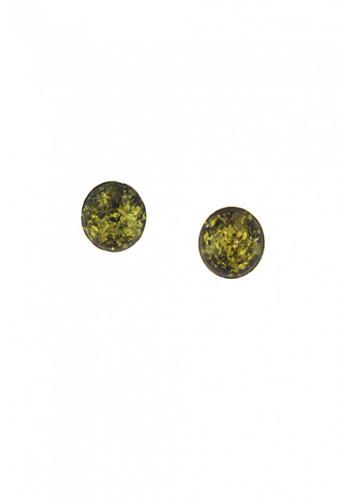 Orecchini in ambra baltica naturale color verde di forma sferica - Argento 925 - AMOR16