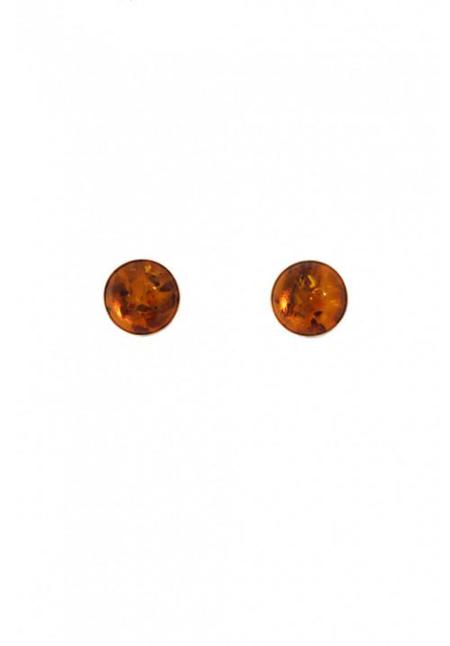 Orecchini in ambra baltica naturale color miele di forma sferica - Argento 925 - AMOR17