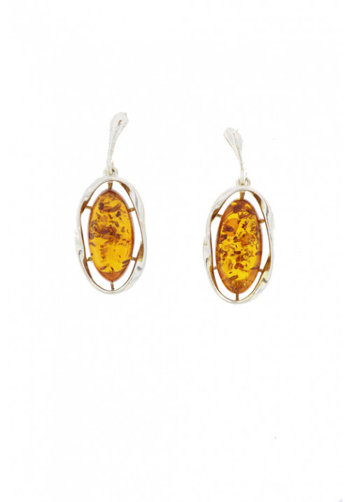 Orecchini pendenti in ambra baltica naturale color miele - Argento 925 - AMOR20