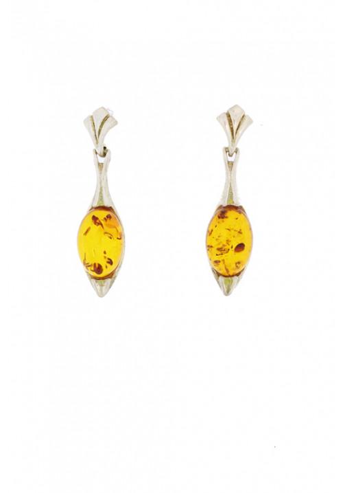 Orecchini pendenti in ambra baltica naturale color miele e Argento 925 - AMOR21
