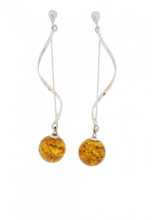 Orecchini pendenti rigidi in ambra baltica naturale color miele - Argento 925 - AMOR22