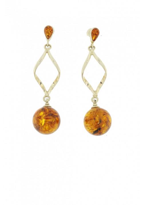 Orecchini pendenti in ambra baltica naturale color miele rigidi - Argento 925 - AMOR23