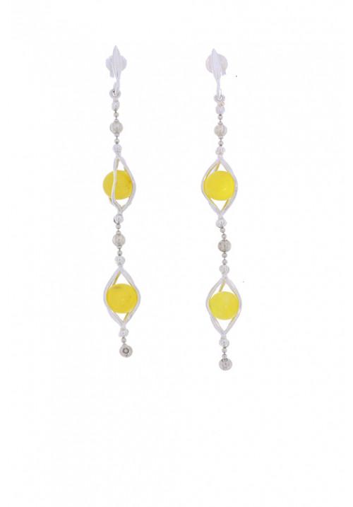Orecchini pendenti con palline in ambra baltica naturale color giallo trasparente - Argento 925 - AMOR25