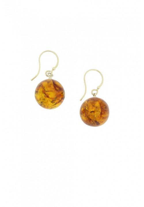 Orecchini pendenti con sfera in ambra baltica naturale color miele - Argento 925 - AMOR26