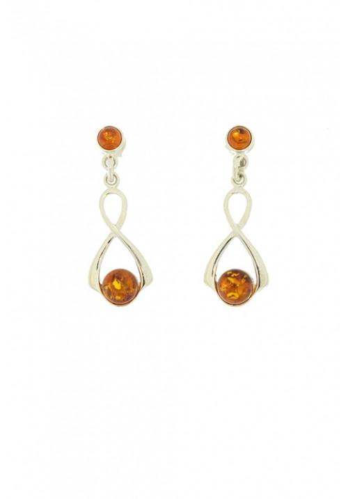 Orecchini pendenti con pallina in ambra baltica naturale color miele - Argento 925 - AMOR28