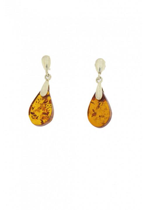Orecchini pendenti in ambra baltica naturale color miele - Argento 925 - AMOR29