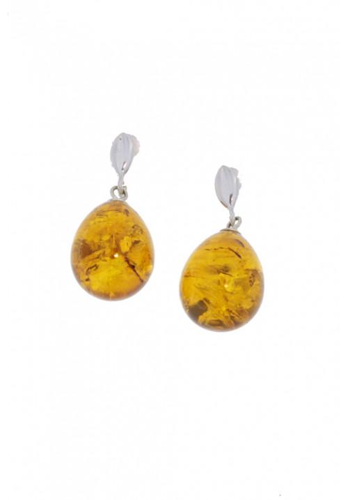 Orecchini pendenti in ambra baltica naturale a goccia color miele - Argento 925 - AMOR30