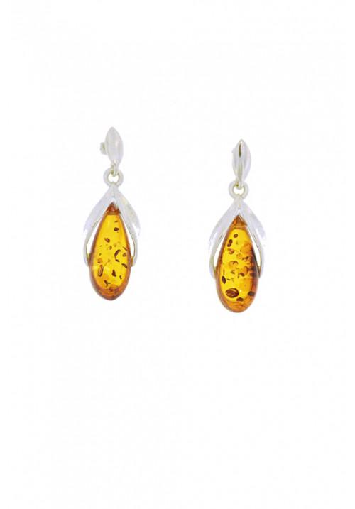 Orecchini pendenti in ambra baltica naturale color miele a goccia - Argento 925 - AMOR31
