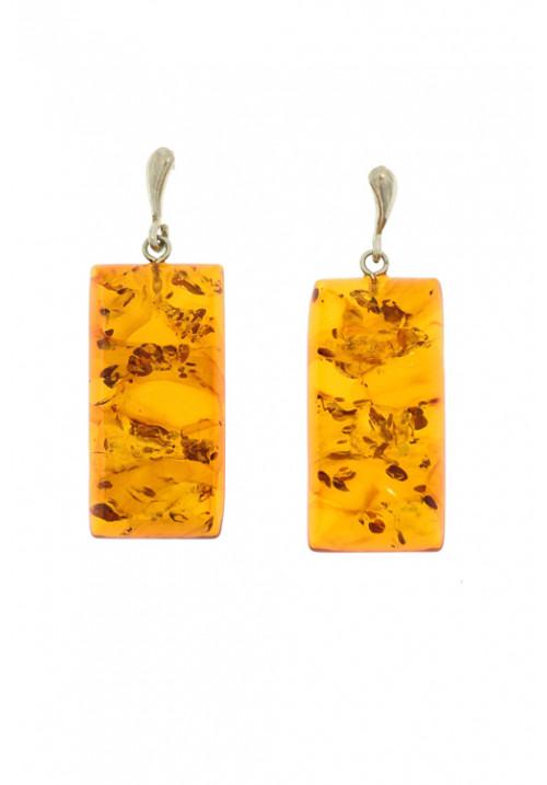 Orecchini pendenti rettangolari in ambra baltica naturale - Argento 925 - AMOR34