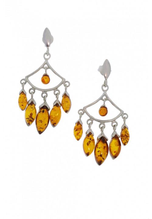 Orecchini pendenti con gocce di ambra baltica naturale color miele - Argento 925 - AMOR35