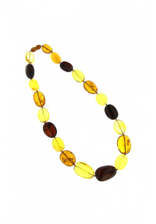 Collana girocollo Ambra Baltica naturale Multi color sassi ovali grandi - amcl20