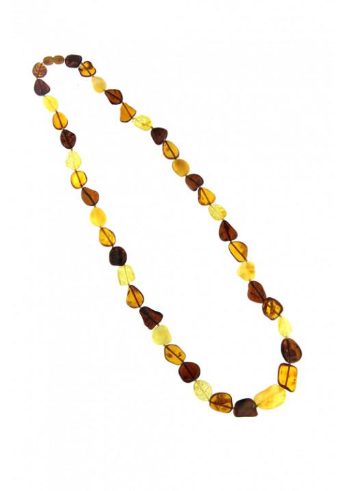 Collana lunga Ambra Baltica naturale Multi color sassi forma astratta - amcl25