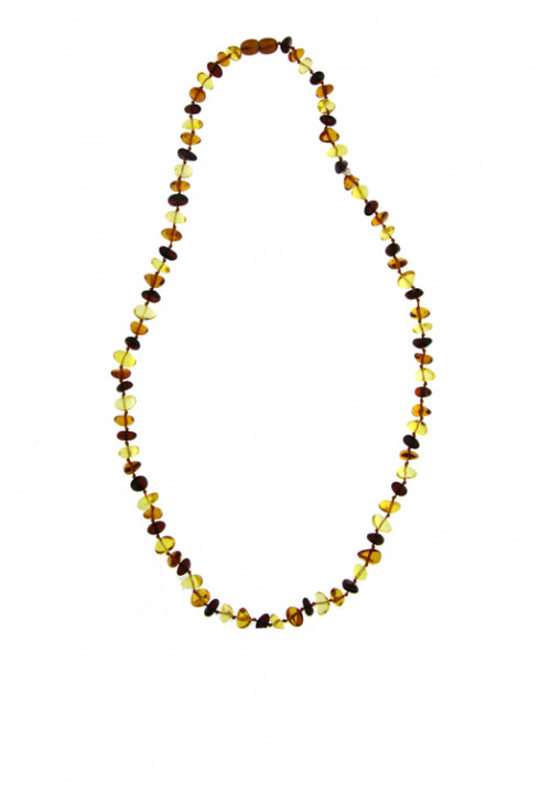 Collana Ambra Baltica Multi color sassi piccoli  - Girocollo - amcl26