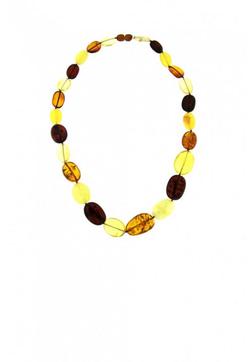 Collana girocollo Ambra Baltica naturale Multi color sassi ovali grandi - amcl28