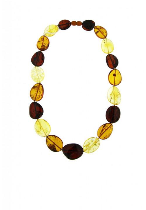 Collana girocollo Ambra Baltica naturale Multi color sassi ovali grandi - amcl30