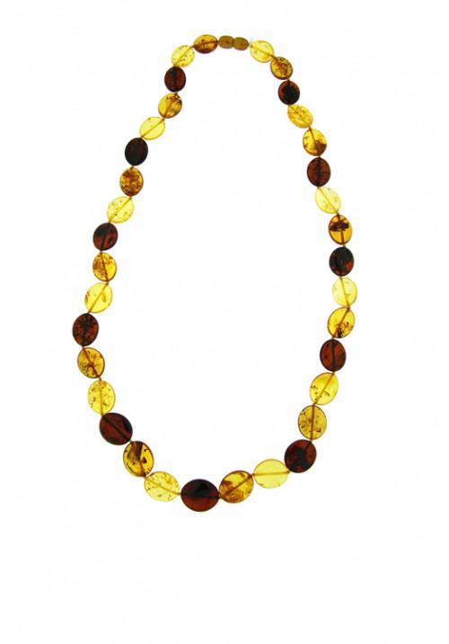 Collana lunga ambra baltica naturale multi color sassi ovali - amcl32