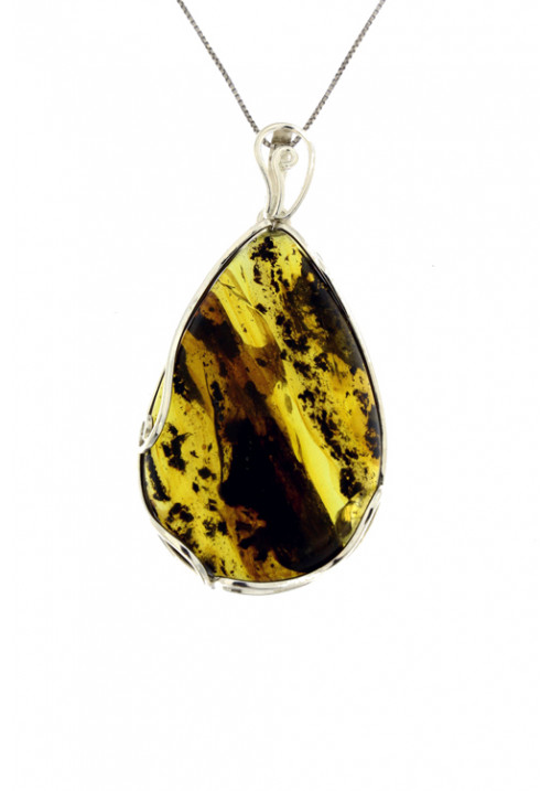 Collana con ciondolo a goccia in ambra baltica naturale color miele - Argento