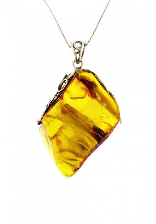 Collana con ciondolo sasso grande a forma astratta ambra baltica naturale color miele - Argento
