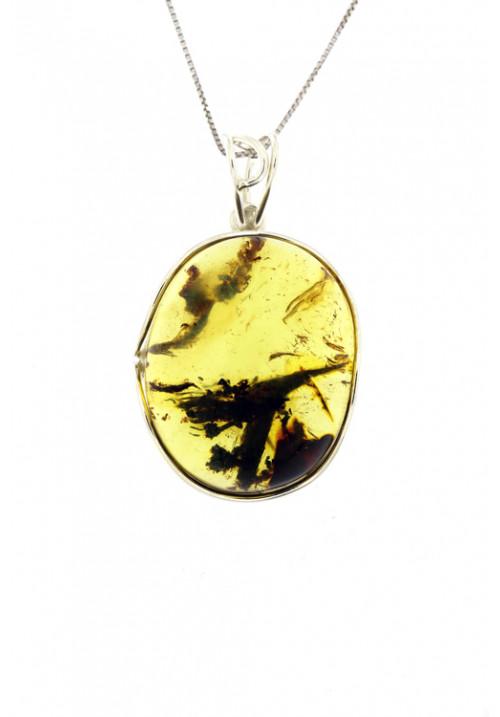 Collana con ciondolo sasso ovale ambra baltica naturale color miele - Argento