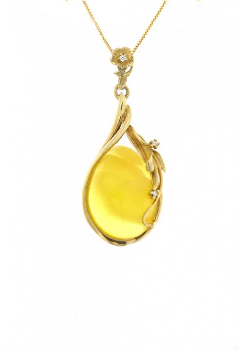 Collana con ciondolo forma di goccia ambra baltica naturale color giallo trasparente - Argento dorato