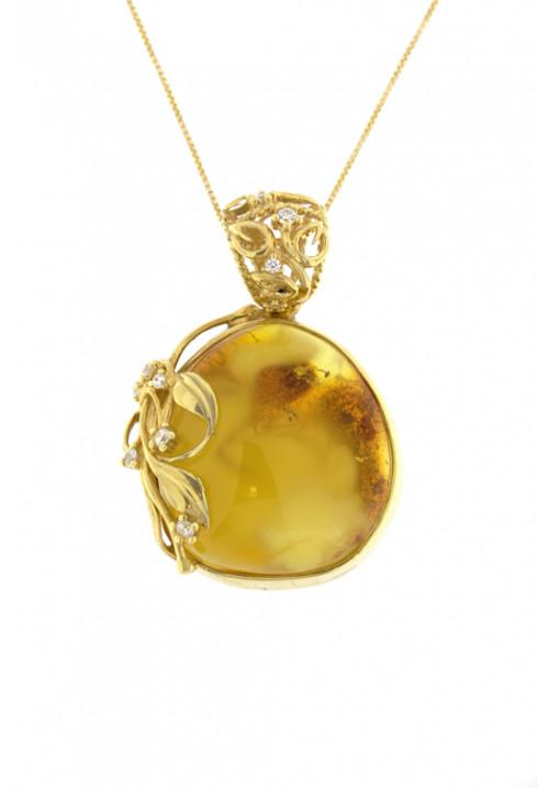 Collana con ciondolo grande ambra baltica naturale color giallo - Argento dorato