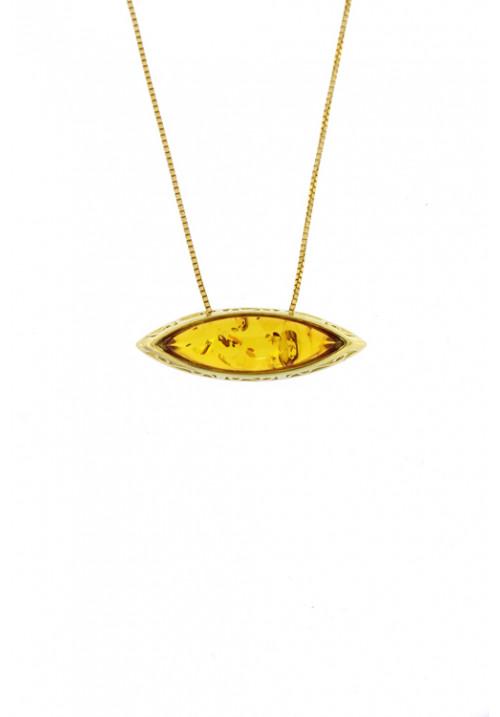 Collana con ciondolo a forma di occhio in ambra baltica naturale color miele - Argento dorato