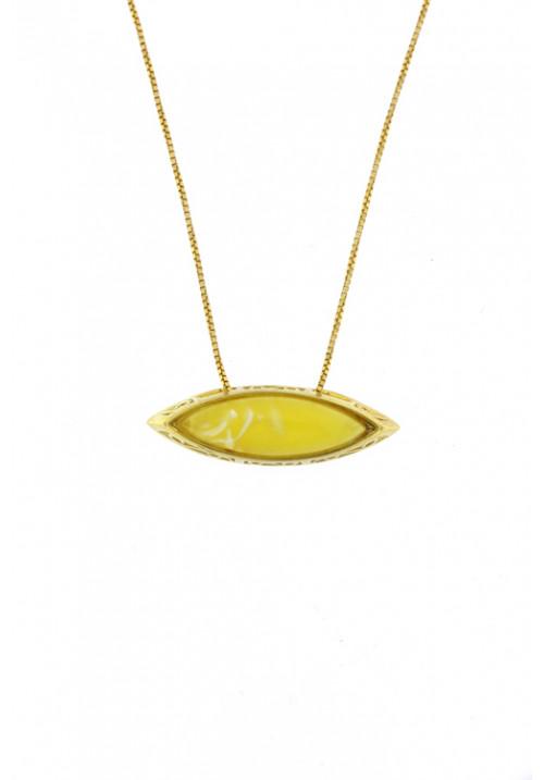 Collana con ciondolo a forma di occhio in ambra baltica naturale color giallo- Argento dorato