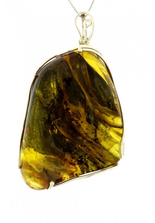 Collana con ciondolo forma di sasso grande in ambra baltica naturale color oro - Argento