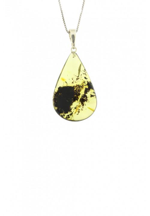 Collana con ciondolo goccia ambra baltica naturale color miele sfumato - Gancio in Argento