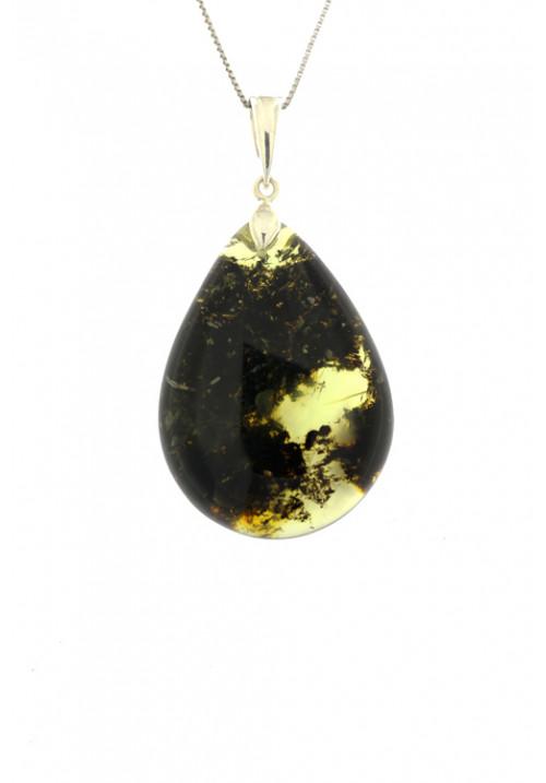 Collana con ciondolo a goccia in ambra baltica naturale color miele e marrone- Argento