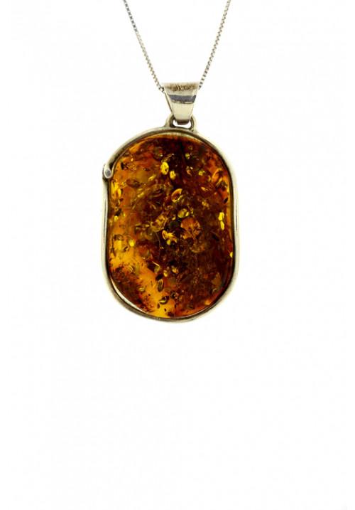 Collana con ciondolo sasso ovale ambra baltica naturale color cognac - Argento