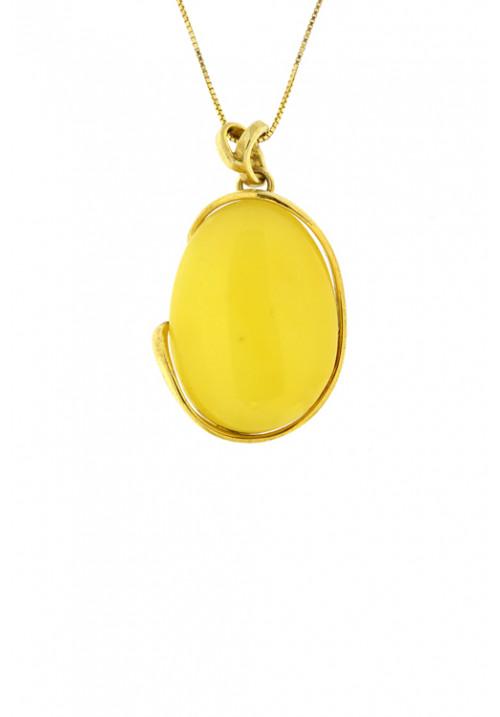 Collana con ciondolo forma ovale in ambra baltica naturale color zabaione - Argento dorato