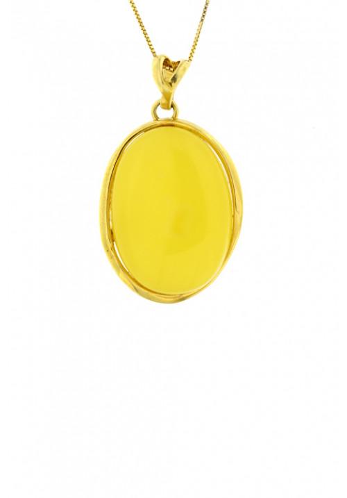 Collana con ciondolo di forma ovale in ambra baltica naturale color zabaione - Argento dorato