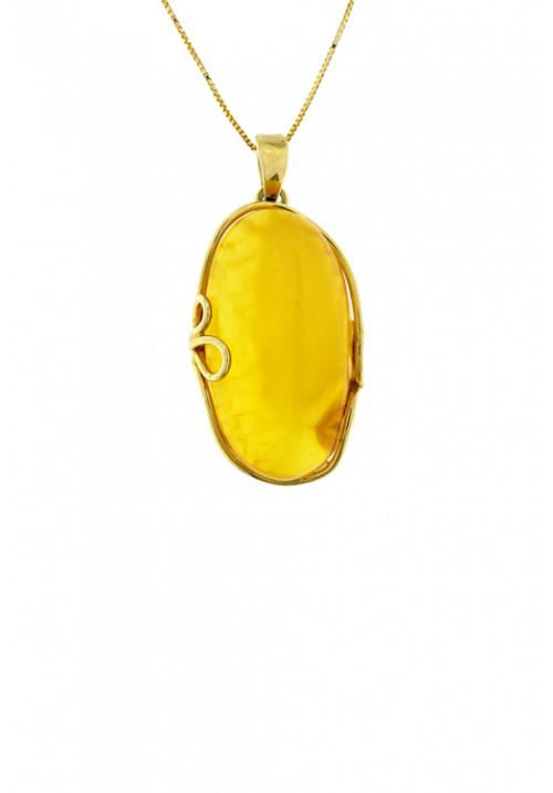Collana con ciondolo ovale in ambra baltica naturale color zabaione - Argento dorato