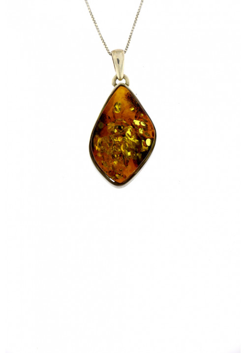 Collana con ciondolo ambra baltica naturale color cognac - Argento