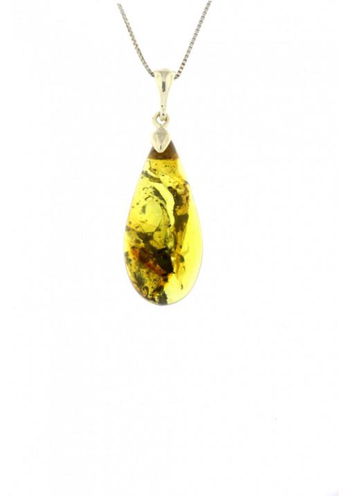 Collana con ciondolo goccia ambra baltica naturale color miele e marrone - Gancio in Argento