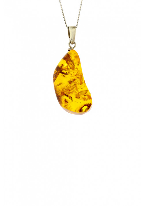 Collana con ciondolo in ambra baltica naturale color cognac - Argento 925
