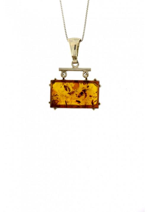 Collana con ciondolo in ambra baltica naturale rettangolare color cognac con inclusioni marroni dorate - Argento 925