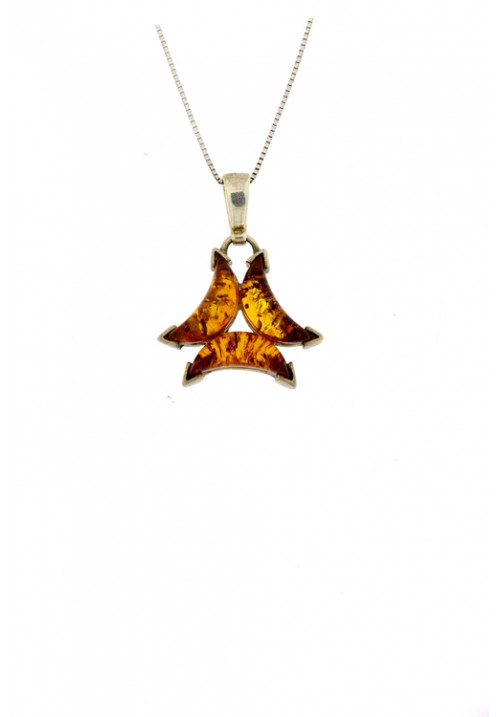 Collana con ciondolo in ambra baltica naturale dalla forma astratta color cognac con inclusioni marroni dorate - Argento 925