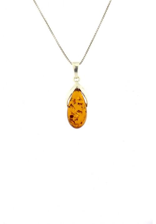 Collana a goccia con ciondolo in ambra baltica naturale color cognac con inclusioni marroni dorate - Argento 925