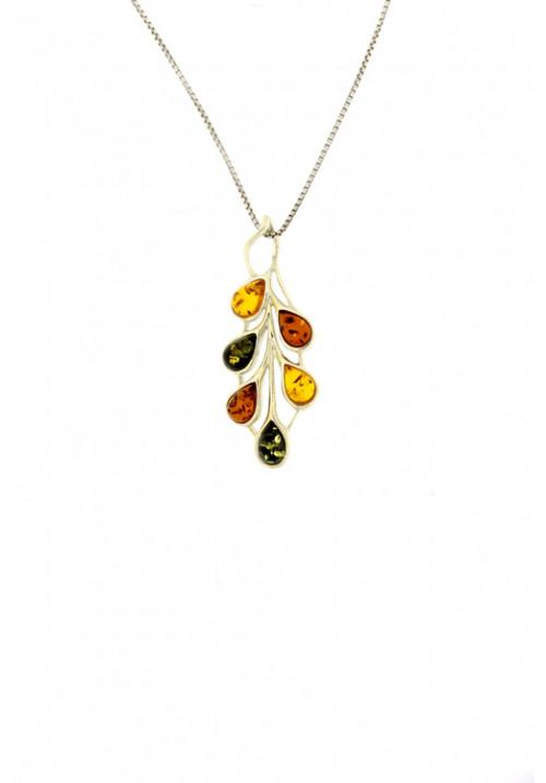 Collana con ciondolo in ambra baltica naturale a forma di ramo floreale - Argento 925