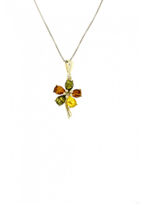 Collana con ciondolo in ambra baltica naturale a forma di fiore - Argento 925